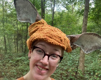 Paper Mache Deer Ears with Upcycled Naturally Dyed cap