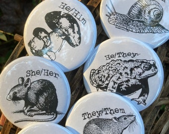 Pronoun Pins! He/She/They and more! Goblincore woodland trans