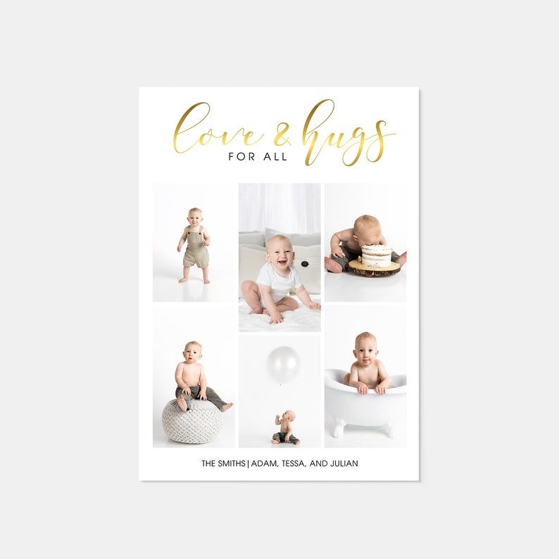 Real Gold Foil Love and Hugs 6 Photo Holiday Card