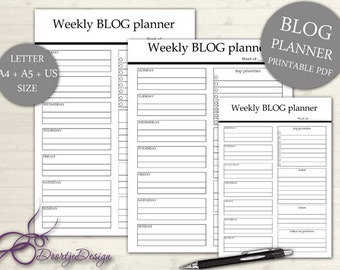 Weekly Blog Planner, Printable Planner Blog, Office Printable Planner, Inserts, Weekly Work Planner, Weekly Layout, Planner A4 & A5 US