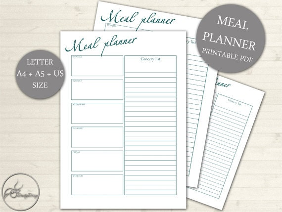 meal planner grocery list printable page weekly meal and etsy