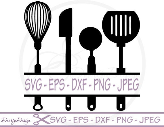 Split Kitchen Utensils Svg Split Monogram Svg Dxf Files