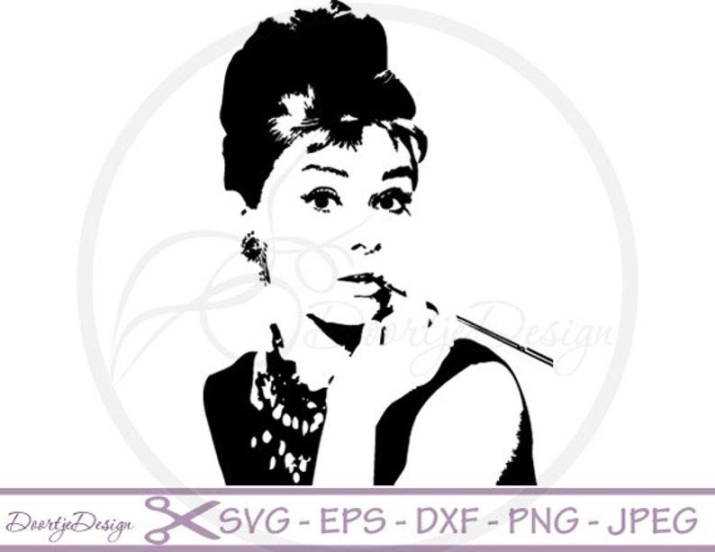Audrey Hepburn silhoutte SVG files dxf files Audrey Hepburn image 0