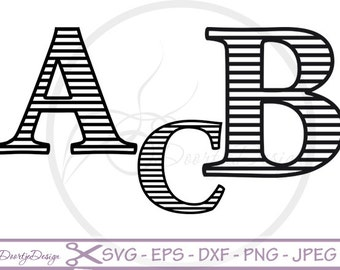 Striped Letters SVG cutting files, Striped Alphabet DXF, EPS Vector files, files silhouette, scrapbooking, svg files for cricut