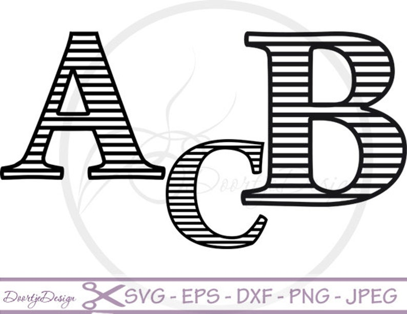 Striped Letters SVG cutting files Striped Alphabet DXF EPS image 0