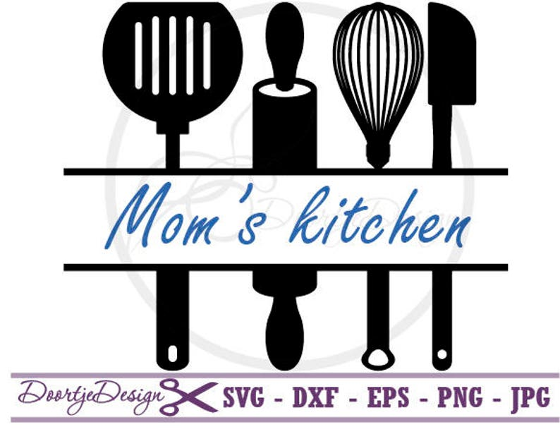 Split Monogram Svg Split Kitchen Utensils Svg Dxf Files