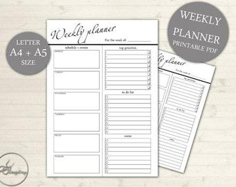A4 & A5 Planner - Agenda - Agenda imprimable - hebdomadaire hebdomadaire - Bureau hebdomadaire imprimable - semaine mise en page 101