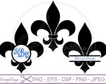 SVG Fleur de Lis, Split Monogram Frames, DXF PNG eps, Cut Files for Cricut Design, Silhouette studio, Silhouette files, Monogram svg