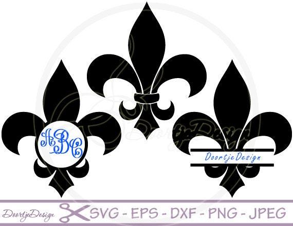 Svg Fleur De Lis Split Monogram Frames Dxf Png Eps Cut Etsy