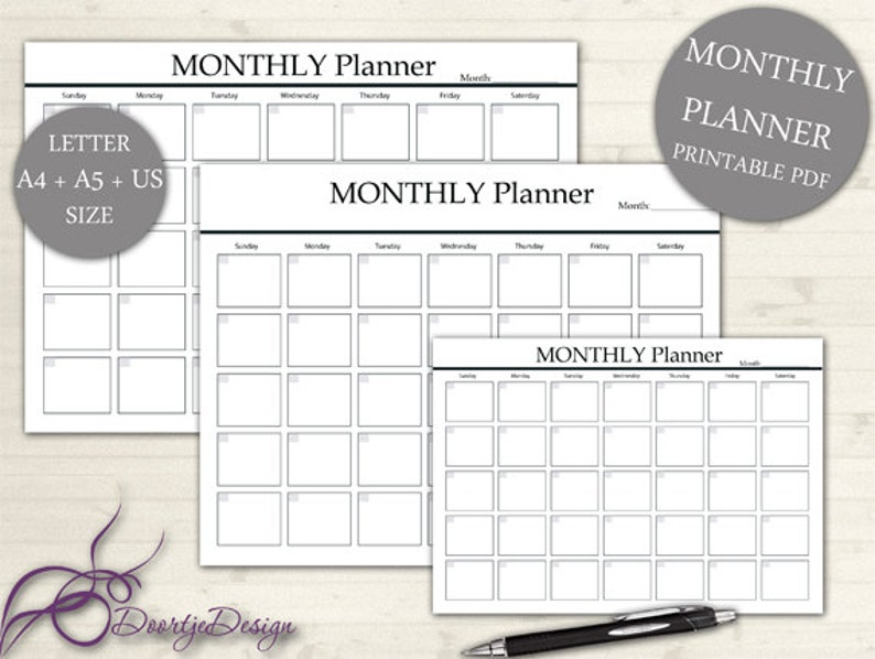 Planner Page MONTHLY Monthly Planner INSTANT Download image 0