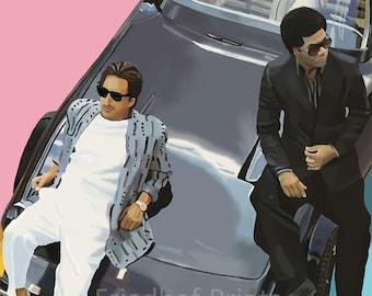 Miami Vice / Crockett / Tubbs / Portrait/ Wall art / art print / digital painting / digital art / high quality print / 8x10