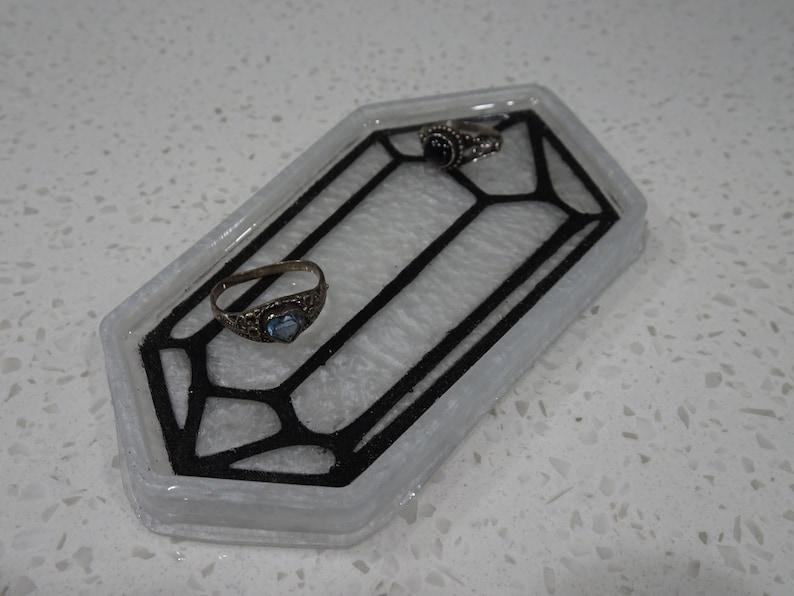 Resin Tray Pearl Crystal Ring Tray Fantasy Homedecor Decorative tray Crystal Ring Dish