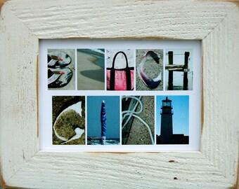 BEACH GIRL 5x7 (Barn Wood Antique Rustic White Frame) Coastal Alphabet Letter Photography