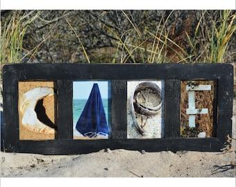 CAPE (Barn Wood Black Frame) Coastal Alphabet Letter Photography