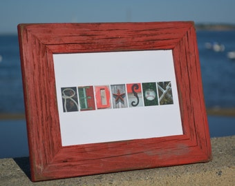 RED SOX 5x7 (Barn Wood Antique Nantucket Red Frame) Coastal Alphabet Letter Photography