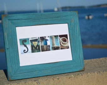 SMILE 5x7 (Barn Wood Antique Ocean Blue Frame) Coastal Alphabet Letter Photography