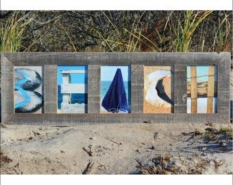 BEACH (Barn Wood Natural Frame) Coastal Alphabet Letter Photography
