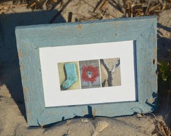 JOY 5x7 (Barn Wood Antique Sky Blue Frame) Coastal Alphabet Letter Photography