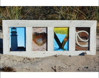 LOVE  (Barn Wood White Frame) Coastal Alphabet Letter Photography