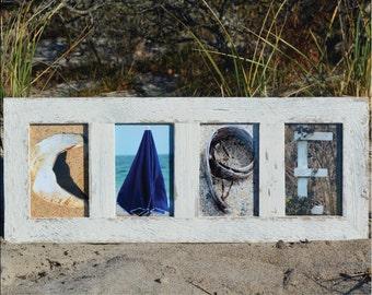 CAPE (Barn Wood White Frame) Coastal Alphabet Letter Photography