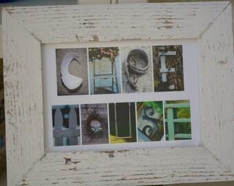 CAPE HOUSE 5x7 (Barn Wood Antique Rustic White Frame) Coastal Alphabet Letter Photography