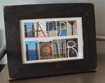 HAPPY HOUR 5x7 (Barn Wood Antique Rustic Black Frame) Coastal Alphabet Letter Photography