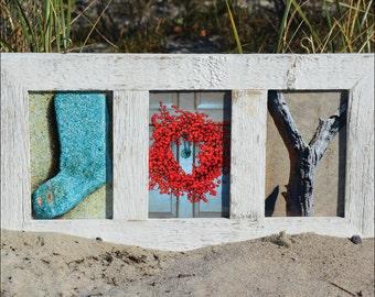 JOY  (Barn Wood White Frame) Coastal Alphabet Letter Photography