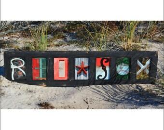 RED SOX (Barn Wood Black Frame) Coastal Alphabet Letter Photography