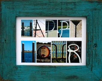 HAPPY HOUR 5x7 (Barn Wood Antique Ocean Blue Frame) Coastal Alphabet Letter Photography