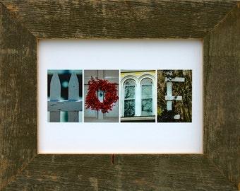 HOME 5x7 (Barn Wood Antique Natural Frame) Coastal Alphabet Letter Photography