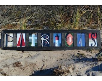 Patriots (Barn Wood Black Frame) Coastal Alphabet Letter Photography