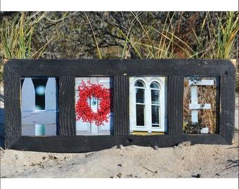 HOME (Barn Wood Black Frame) Coastal Alphabet Letter Photography