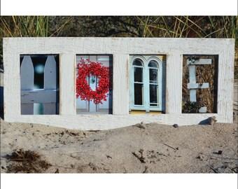 HOME (Barn Wood White Frame) Coastal Alphabet Letter Photography