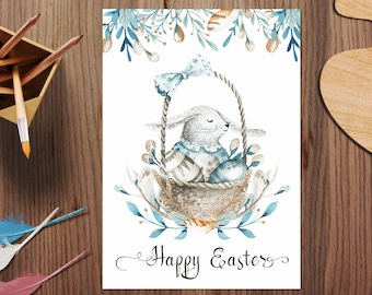 Easter Bunny Card, Easter Card For Kids, Easter Printable, Easter Card Template, Happy Easter Card, Watercolor Card, Watercolor Bunny