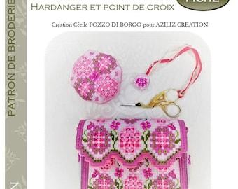 Aziliz Creation: Rose Garden set, clutch, biscornu and scissor jewelry - pattern for hardanger embroidery - by Cécile Pozzo di Borgo