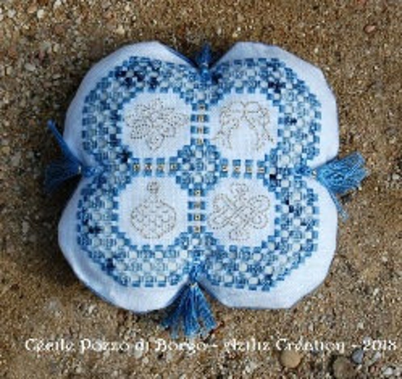 Hardanger Embroidery Kit Chinese Wishes Alliance Cushion - Aziliz Creation H1804