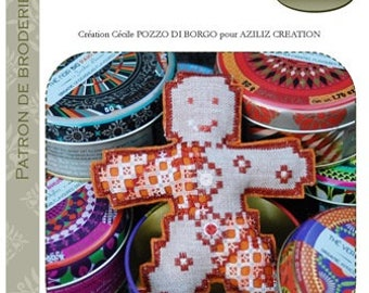 Gingerbread man in 3D - hardanger embroidery pattern - Aziliz Creation