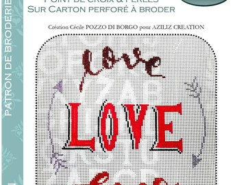 Aziliz Creation: Love,love,love - pattern of cross stitch embroidery and beads on perforated cardboard - by Cécile POZZO DI BORGO