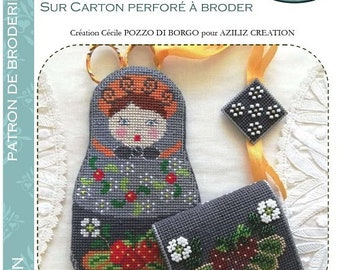 Aziliz Creation: Matriochka - Patron of cross-stitch embroidery and beads on perforated cardboard, scissor case and its jewel and needle holders
