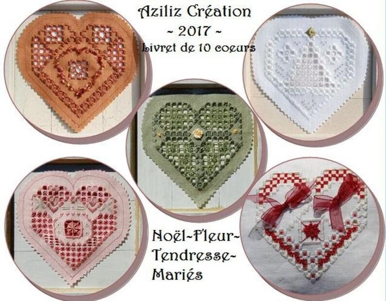 Booklet of 10 Hearts in Hardanger by C\u00e9cile Pozzo di Borgo Aziliz Creation