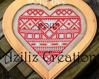 Aziliz Creation: Heart of Sofia - hardanger embroidery pattern (H1606) by Sophie Brusini