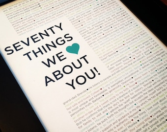 70 Things We Love About You - Custom Birthday Print