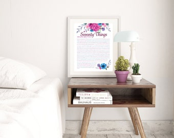 70 Things We Love About You - Pink Floral Print