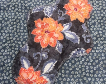 """10"""" Moderate, Waterproof Reusable Cloth Pad, Orange Asian Floral, Other Sizes Available Upon Request"""