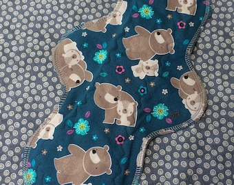 """12"""" Moderate, Waterproof Reusable Cloth Pad, Teal Mama and Baby Bear, Other Sizes Available Upon Request"""