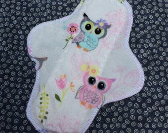 """Ready to Ship, Minky, 9"""" Moderate Waterproof Reusable Cloth Pad, Owls, Other Sizes Available Upon Request"""