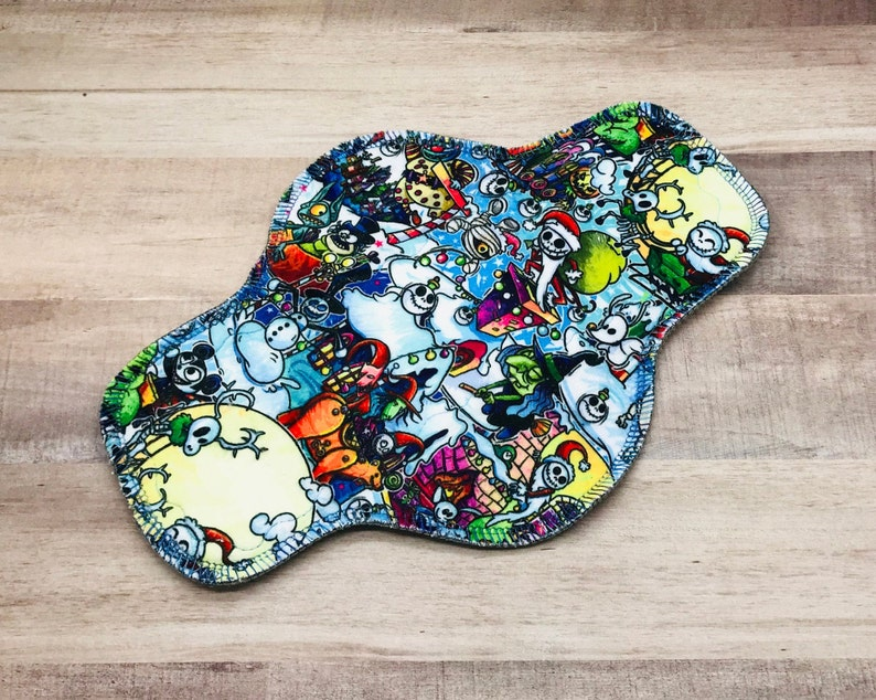 Choose Size and Absorbency Minky Reusable Menstrual Cloth Pad Mother Moon Pad Nightmare Before Christmas