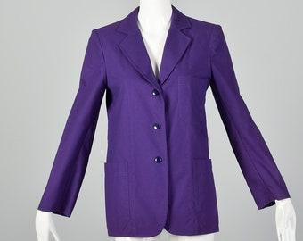 7e54c779e6 Medium 1980s Cacharel Purple Blazer Vintage Women's Jacket 80s Cotton Blazer  Medium Blazer 80s Spring Jacket