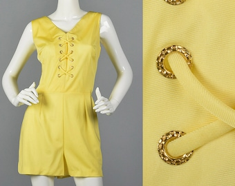 9db78f529251 Large Yellow Romper Faux Lace up Front Silky Feel Vintage 70s Sleeveless  Short Summer 1970s Beach Wear