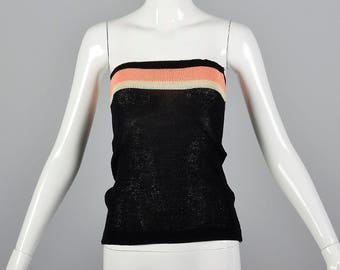51c3930a507 XS 1970s Black Knit Tube Top Casual Strapless Top Cropped Knit Stripes  Spring Summer Lightweight 70s Vintage